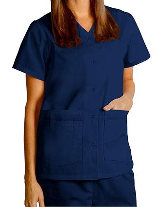 AD-604-Adar 27.5 Inch Women's Snap-Front Nursing Scrub Top