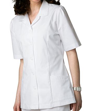 AD-605-Adar Women Two Pockets Lapel Collared White Scrubs Tops