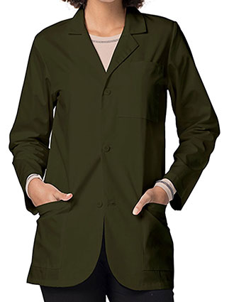 AD-80516-Adar 30 Inch Unisex Three Pockets Olive Consultation Coat