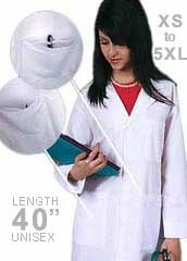AD-808-Adar Medical Uniform 40 inch Midriff Back Unisex White Laboratory Coat