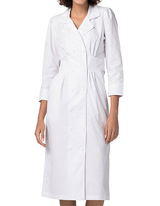 AD-812-Adar Women's 46 inches Tuck Pleat Dress White Lab Coat