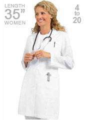 BA-27172-Barco 35 inch Stream Line Three Welt Pocket Women Medical Lab Coat