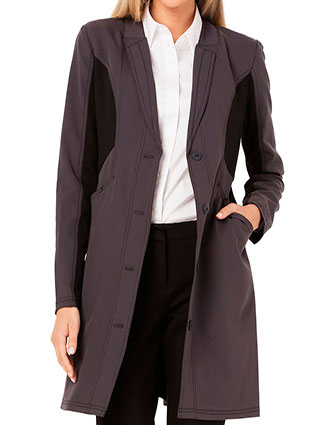 CA-CA306-Careisma Fearless 33 Inches Womens Black Contrast Scrub Lab Coat