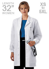 CH-1362-Cherokee 32 inch Rib Knit Cuff Short Laboratory Coat for Women