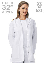 CH-1369-Cherokee 32 inch Snap Front Womens White Lab Coat