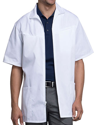 CH-1373-Cherokee Med-Man 32 Inches Four Pockets Zip Front White Scrub Jacket