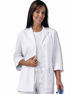 Cherokee 30.5 inch Three Quarter Sleeve White Lab Coat for Women
