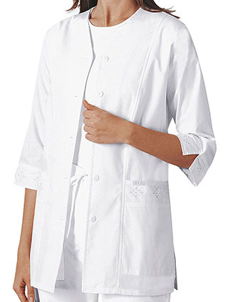 CH-1949-Cherokee 29.5 inch Three Quarter Sleeves V-Neck Lab Jackets for Women