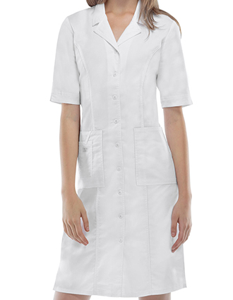 CH-4508-Cherokee Workwear Women's 40 inch Three Pockets Dress Lab Coat
