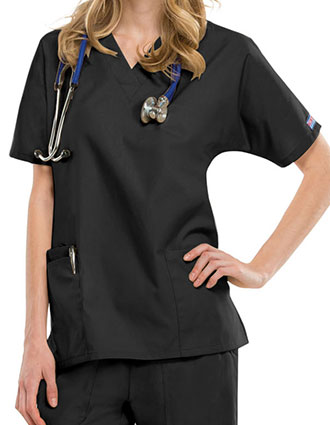 CH-4700-Cherokee Workwear Women's V-neck Solid Scrub Top