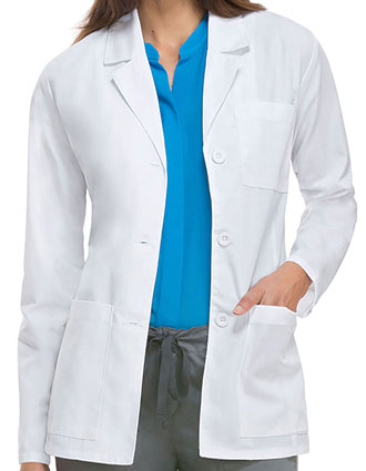 DI-84401AB-Dickies EDS Professional Whites Women's 28 Inches Antimicrobial With Fluid Barrier Consultation Lab Coat