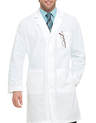 LA-3132-Landau Full Length Three Pockets Men White Medical Lab Coat