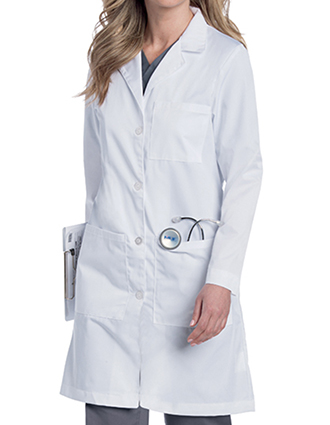 LA-3153-Landau Uniform Women 38 inch Stretch Twill Four Button Lab Coat