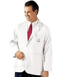 Landau Uniforms Mens 31.25  inch Two Pockets White Medical Jacket