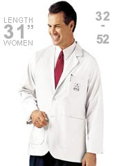LA-3200-Landau Uniforms Mens 31.25  inch Two Pockets White Medical Jacket