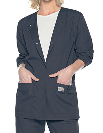 LA-70227-Landau Scrubzone Women's Snap Front Solid Scrub Jacket
