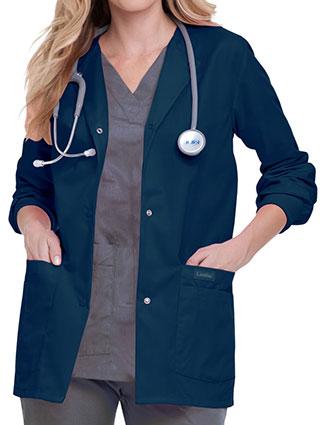 LA-7525-Landau 29 Inch Womens Snap Front Nursing Scrub Jacket
