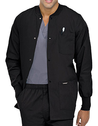 LA-7551-Landau 31.5 Inch Mens Snap Front Rib Knit Scrub Jacket