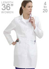 LA-8723-Landau 36 inch J-Pocket Women Medical Lab Coat