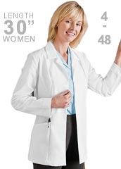 ME-1088-White Swan Meta 30 inch Two Pockets Women Medical Lab Coat