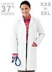 ME-15113-White Swan Meta 37 inch Notched Collar Women Long Lab Coat