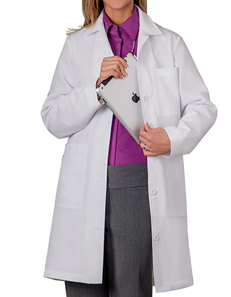 ME-1964-White Swan Meta 37 inch Four Pockets Women White Lab Coat