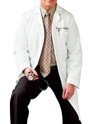 ME-6115-White Swan Meta 40 inch Multiple Pockets Men Long Medical Lab Coat