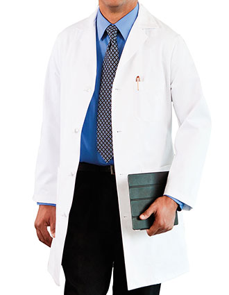 ME-800-Meta 38 Inch Men's Three Pocket Knot Button Lab Coat
