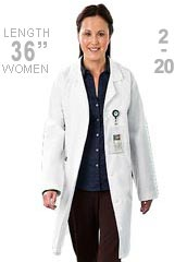 ME-833-White Swan Meta 36 Inch Five Pocket Womens Long Lab Coat