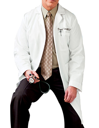 ME-C6115-Clearance Sale! White Swan Meta 40 inch Multiple Pockets Men Long Medical Lab Coat
