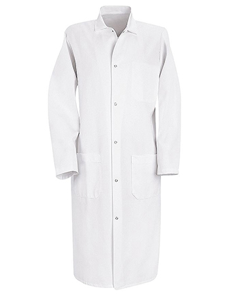 RE-4004-Red Kap 44.75 inch Three Pockets Gripper Front Men Butcher White Coat