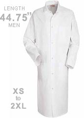 RE-4016-Red Kap 44.75 inch Three Pockets Gripper Front Men Butcher White Coat