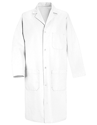 RE-5080WH-Red Kap 41.5 inch Three Pockets Four Gripper Men Medical Lab Coat