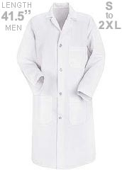 RE-5700WH-Red Kap 41.5 inch Three Pockets Men Long White Lab Coat