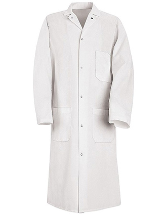 RE-CKS62-Clearance Sale! Red Kap 44.75 inch Six Gripper Front Men White Butcher Long Lab Coat