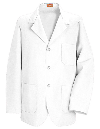 RE-KP10-Red Kap Men's 30 Inches Three Pockets Button Front White Counter Coat