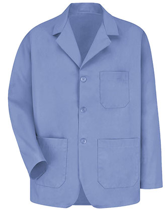 RE-KP10LB-Red Kap 30 Inch Men's Three Button Front Lapel Light Blue Colored Counter Coat