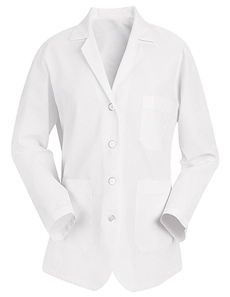 RE-KP11WH-Clearance Sale! Red Kap 28 Inch Three Pocket Women Short White Counter Coat