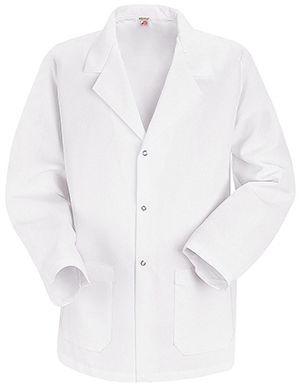 RE-KP16-Red Kap Men 30 inch White Specialized Lapel Counter Coat