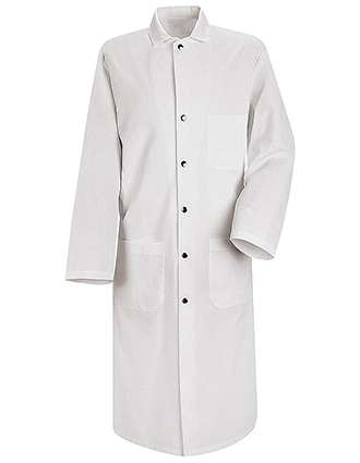 RE-KS58-Red Kap 45 Inch Men's Three Pockets Snap Front Butcher White Lab Coat