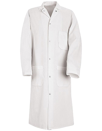 RE-KS62-Red Kap 44.75 Inch Men's Six Gripper Front White Butcher Long Lab Coat