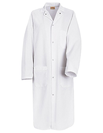 RE-KS64-Red Kap 44.75 inch Gripper Front Men White Butcher Wrap Lab Coat