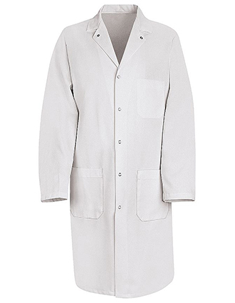 RE-KT18-Red Kap 41.5 inch Gripper Front White Twill Men Butcher Wrap Lab Coat