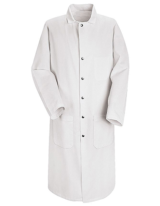RE-KT50-Red Kap 45.25 Inch Men's Three Pockets Full Cut Butcher White Lab Coat