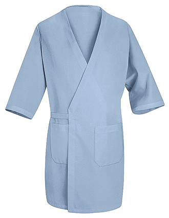 RE-WP10LB-Red Kap Unisex 3/4 Sleeves Collarless Three Pockets Butcher Wrap Coat
