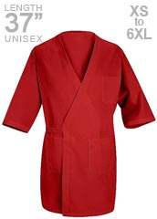 RE-WP10RD-Red Kap 3/4 Sleeves Collarless Red Unisex Butcher Wrap Coat