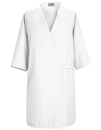 RE-WP18WH-Red Kap Unisex 37 inch No Collar Butcher Wrap Coat in White Color