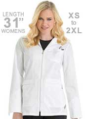 UR-9602-Urbane Scrubs 31 inch Short Zipper Front Womens Lab Coat