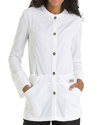 UR-9607-Urbane Scrubs 31 Inch Four Pockets Women White Scrub Jacket