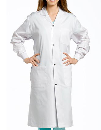 WH-2068SRB-White Cross 42 Inches Women's Knit Cuffs Long Labcoat